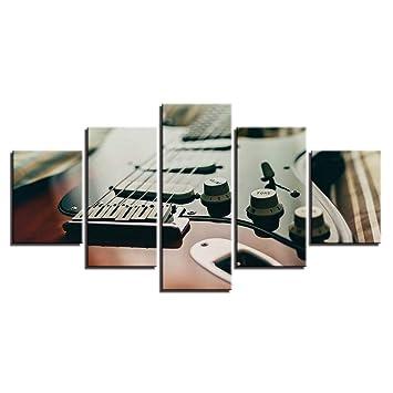 XSHUHANP Impresión sobre Lienzo Pinturas De La Lona para La Sala De Arte De La Pared 5 Unidades De Guitarra Eléctrica Sintonizador De Instrumentos Musicales ...