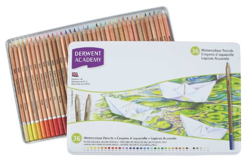 Derwent Academy Watercolor Pencils, Metal Tin, 36 Count (Watercolor Metal)