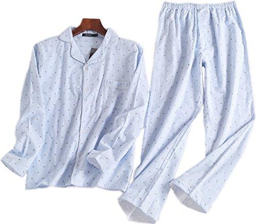 Petite Flannel Pajamas (Sanmadrola Women's Cotton Flannel Sleepwear Long Sleeve Pajama Set SY271-Blue Dots-S)