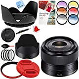 Sony 35mm f/1.8 Prime Fixed E-Mount Full Frame Lens with 49mm Filter Sets Plus Accessories Bundle