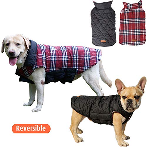 UPHAN Warm Dog Clothes Jackets for Small Medium Large Dogs Outdoor Indoor Activities- Dog Cold Weather Coats - Waterproof Windproof Reversible British Style Plaid Dog Vest Winter Coat - Red - Reversible Vest Outback