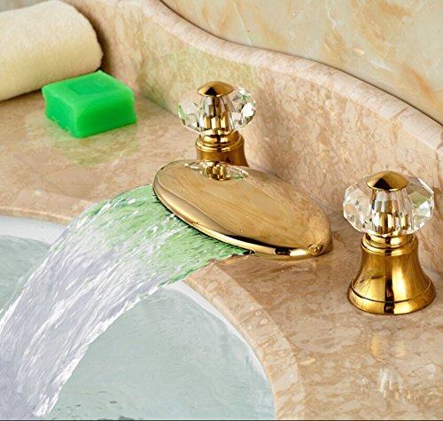 5151buyworld Top Qualität Wasserhahn Luxus Golden breitgefächert 3 Löcher Waschbecken Wasserhahn Deck montieren ZWeißCristal Griff Sanitär Mixer tapsfor Badezimmer Küche Home Gaden (begriffsklärung), chrom,