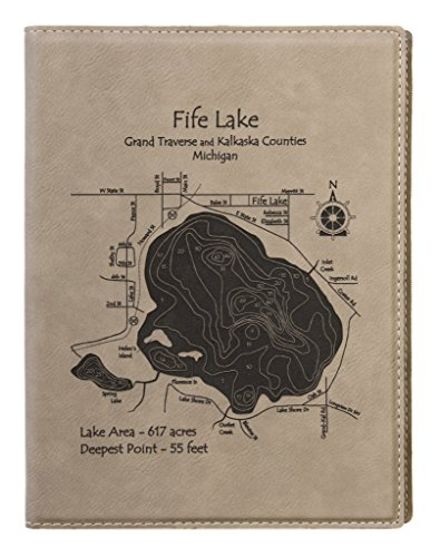 Hitchcock Lake - 2D Only in New Haven, CT - Leather Notebook 9x12 - Laser etched leather nautical chart and topographic depth - Lakeside Orleans New