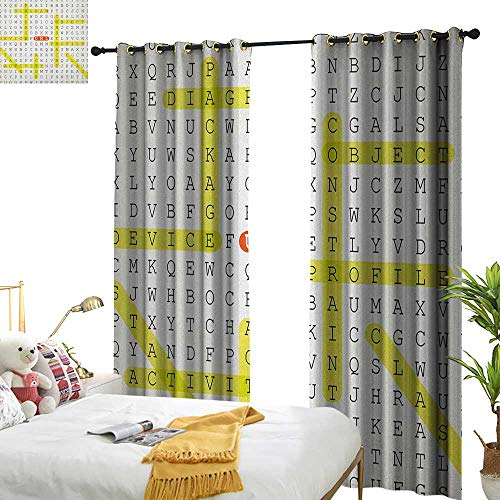Littletonhome Insulated Sunshade Curtain Word Search Puzzle Unified Modeling Language Word Puzzle with Highlighted Keywords Darkening and Thermal Insulating W84 x L96 Black Yellow Orange -