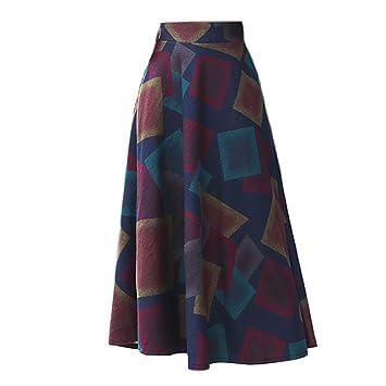 Yujingc Falda de Lana Falda de sección Larga de Cuadros Femeninos ...