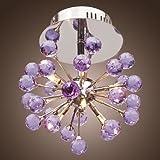 LightInTheBox 6-light Floral Shape K9 Crystal Ceiling Light-Purple (0942-98004-C-6P), Modern Home Ceiling Light Fixture Flush Mount, Pendant Light Chandeliers Lighting