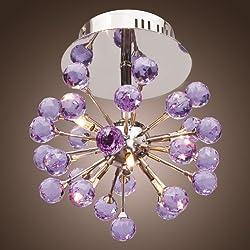 LightInTheBox 6-light Floral Shape K9 Crystal ceiling Light-Purple (0942-9800...