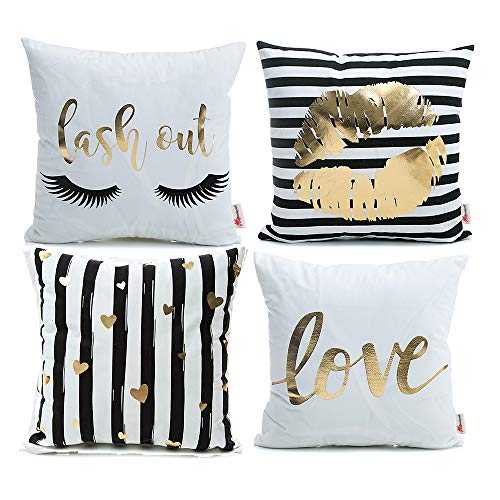 Monkeysell Pack of 4 Black and Gold Throw Pillow Lips Bronzing Flannelette Home Pillowcases Throw Pillow Cover Love Black Gold Lips Pattern Design Rock Punk Neoclassical Style 18 inches (White) (Gold Pillow White)