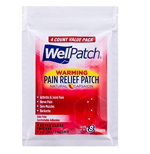 Wellpatch Warming Pain Relief Patch, 8'' x 4'' Each, 32 Patches Per Box (4 Boxes)