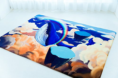 (Cloudyfocus Baby Crawling Mat - 6.5' x 5', 3D Nursery Decor Rug for Kids Play, Non Slip Shaggy Area Rug Soft Baby Gym Carpet Sleep Blanket Baby Shower Gift (Whale in The Wonderland))