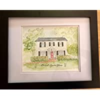 Framed Portrait Custom Watercolor House Painting Illustrated Home Closing Present Housewarming Gift
