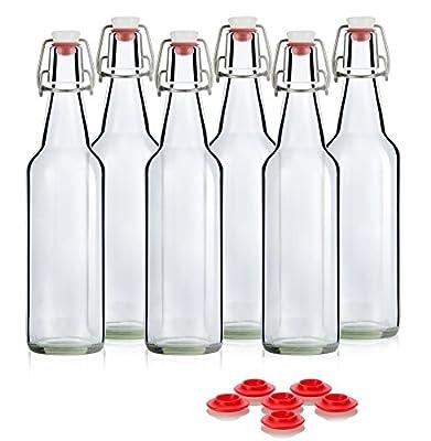 Swing Top Grolsch Glass Bottles 16oz - CLEAR - For Brewing Kombucha Kefir Beer (6 Set) Bonus Gaskets