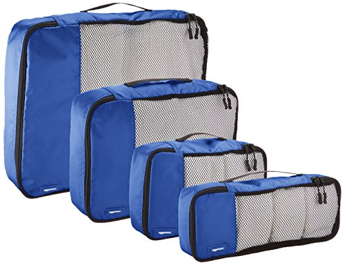 AmazonBasics 4 Piece Packing Digital Nomad's Travel Organizer Cubes Set - Blue