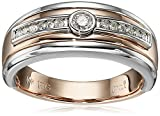 Men's 10k White and Rose Gold Diamond Band Ring (1/5cttw, H-I Color, I2-I3 Clarity)