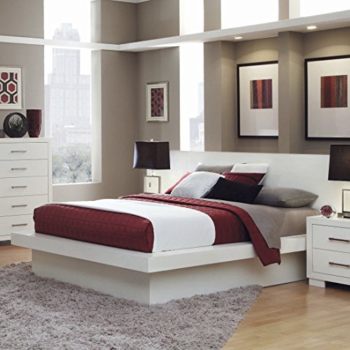 Coaster Home Furnishings Jessica Eastern King Platform Bed with Rail Seating and Lights White