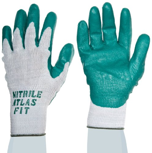 SHOWA Atlas 350 Fit Palm Coating Nitrile Glove, 10-Gauge Seamless Knitted Liner, General Purpose Work, X-Large (Pack of 12 Pairs) -