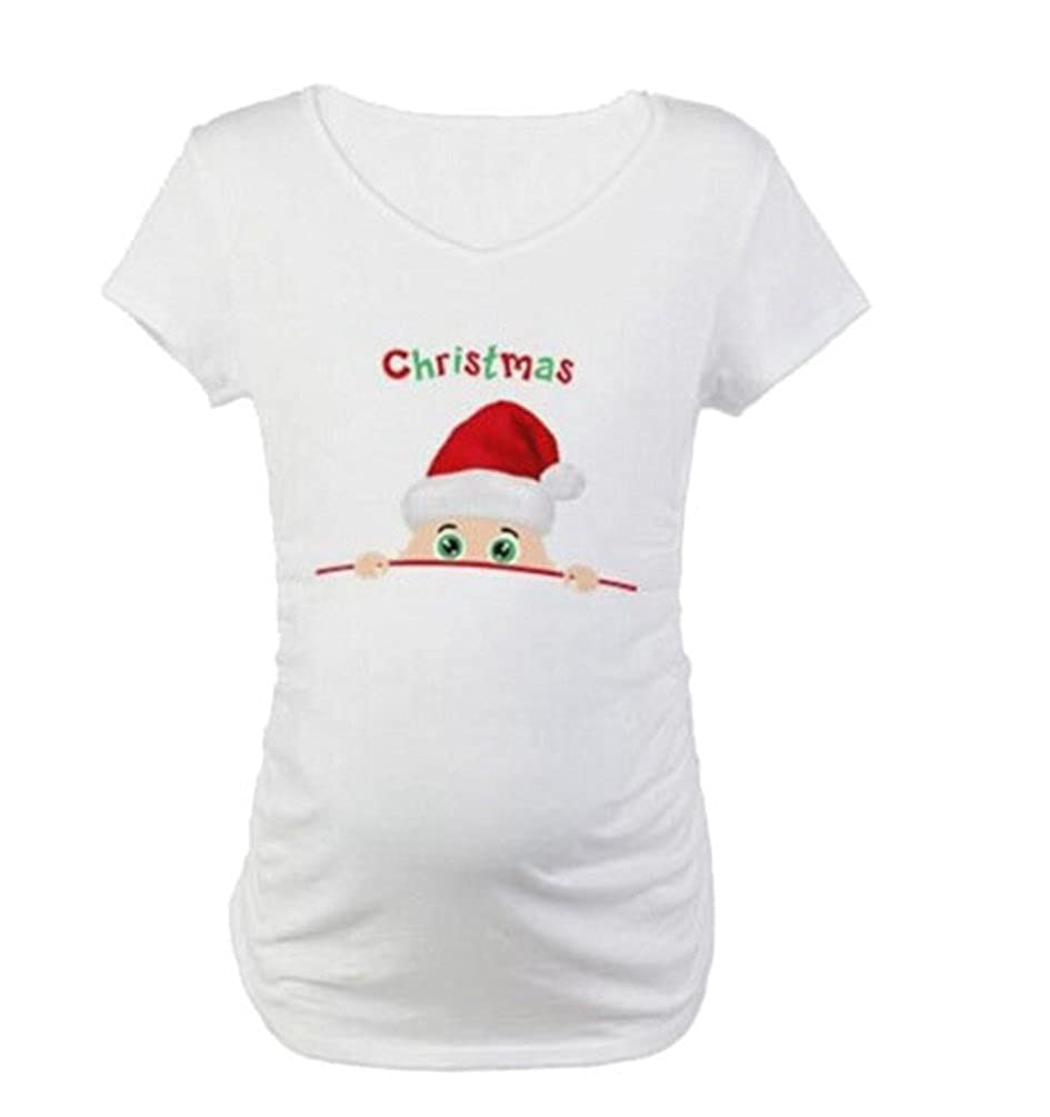 Binhee Women's Maternity Tops Santa Peeking Pattern Pregnancy Shirts