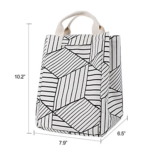 HOMESPON Reusable Lunch Bags Printed Canvas Fabric Insulated Waterproof Aluminum Foil, Lunch Box Women, Kids, Students (Geometric Pattern-White) by HOMESPON (Image #6)