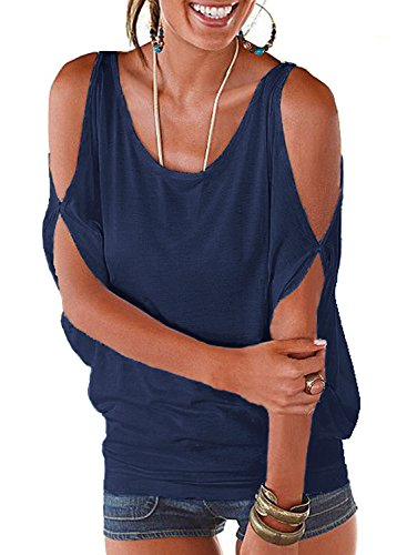 Navy Summer T Shirt Women Short Sleeve Cold Shoulder Loose Fit Pullover Casual Top