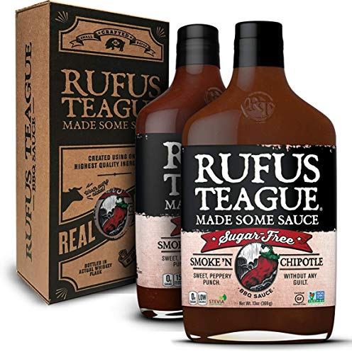 Rufus Teague: Sugar-Free BBQ Sauce in Unique Gift Box - Premium BBQ Sauce - Natural Ingredients - Award Winning Flavors - Thick & Rich Sauce - Made with Stevia - Gluten-Free, Kosher, & Non-GMO - 2pk