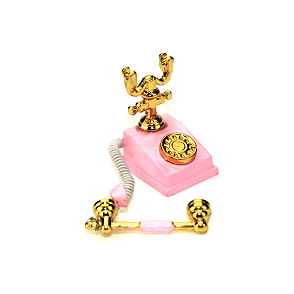 Binory Mini Retro Home Telephone for 1/6 1/12 Dollhouse Furniture,Fashion Modern Design Miniature Home Living Room/Bedroom Kids Pretend Toy,Creative Birthday Handcraft Gift(Pink)