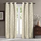 Virginia Beige Grommet Blackout Weave Embossed Window Curtains Drapes, Pair / Set of 2 Panels, 37×96 inches Each, by Royal Hotel