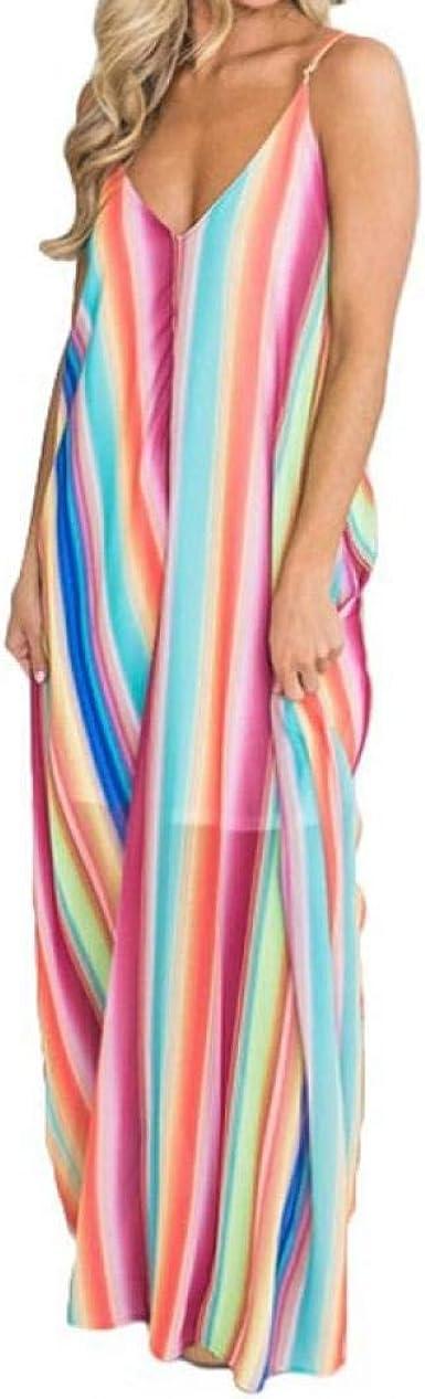 New Womens Summer Casual Irregular Stripes Maxi Dress Beach Sleeveless Sundress
