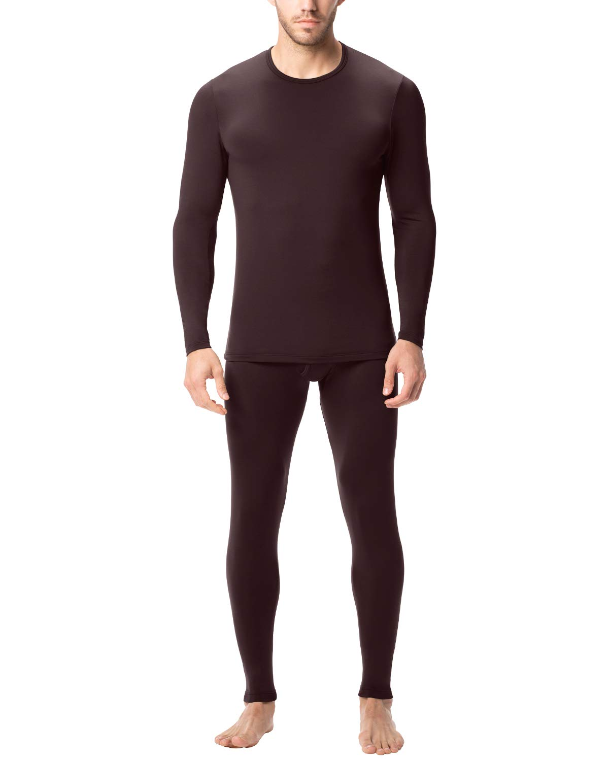 LAPASA Men's Lightweight Thermal Underwear Long John Set Fleece Lined Base Layer Top and Bottom M11 (X-Large, Lightweight Chocolate) by LAPASA