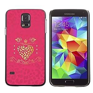 Caucho caso de Shell duro de la cubierta de accesorios de protección BY RAYDREAMMM - Samsung Galaxy S5 SM-G900 - Gold Heart Pink Glitter Shiny