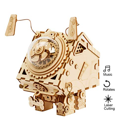 Eggschale DIY Wooden Music Box 3D Puzzle Kit Hand Crank Dog Musical Box Toy Laser Cut Creative Gifts Halloween Thanksgiving Christmas Birthday for Girls and Boys for $<!--$24.59-->