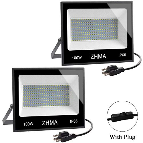ZHMA 2 Pack 100W LED Flood Light, Super Bright Work Lights, 9000ml, 6500k White Light Bulbs, IP66 Waterproof Security Lamp with Plug, Floodlights Outdoor for Yard, Garden, Garage, Basketball Court