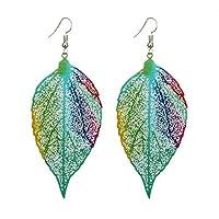 Wintefei Fashion Metal Hollow Colorful Leaf Pendant Drop Hook Earrings Statement Jewelry - Blue