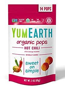 YumEarth Organic Hot Chili Lollipops, 3 Ounce Pouches (Pack of 6) (Packaging May Vary)