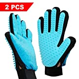 Pet Grooming Glove, Rantizon Gentle Pet Hair Remover Glove Brush Rubber Tips for Massage Efficient Deshedding Glove For Long and Short Hair of Dogs, Horses, Cats, Bunnies, Deshedding Tool, Set Of 2