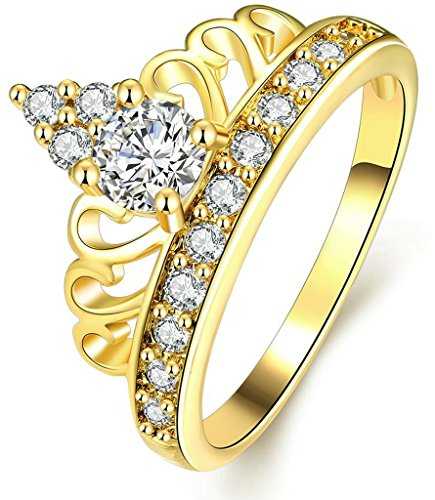 AnaZoz Gold Plated Women Wedding Bands Rhinestone Queen Crown Ring Size