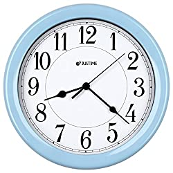 8.5 inch Simply High-end Plastic Decorative Wall Clock, Water Resistant, Special for Small Space, Office, Boats, RV (W86019 Light Blue)