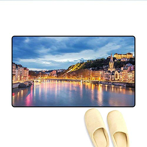 Bath Mat View of Saone River in Lyon City at Evening France Blue Hour Historic Buildings Door Mats for Inside Bathroom Mat Non Slip Backing Multicolor 32