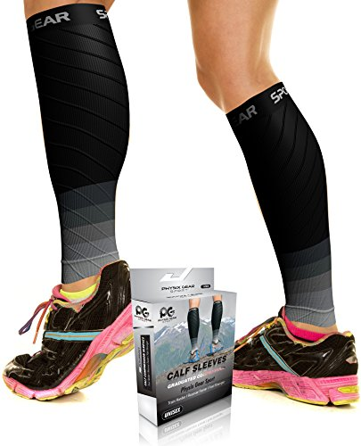 Physix Gear Sport Compression Calf Sleeves for Men & Women 20-30mmhg - Best Footless Compression Socks for Shin Splints, Running, Leg Pain, Nurses & Pregnancy -Increase Circulation - BLK/GRY S/M - Plus Triathlon Clothing Size