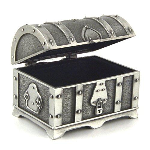 HZMAN Fashion Small Rectangle Antique Silver Metal Treasure