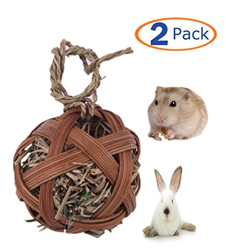 Hamster Toys,Grass Ball Chew Toy for Small Animals,Handmade Woven Play Ball(Pack of 2)