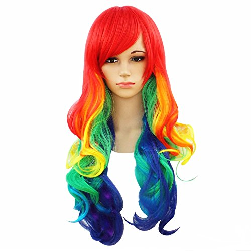 [Women's Rainbow Wavy Wigs Long Cosplay Lolita Halloween Club Party Wig (Style B)] (Womens Rainbow Bright Costume)