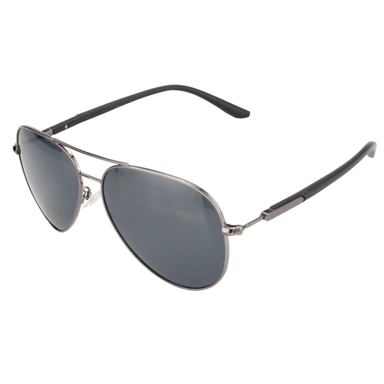 DUCO Premium Pilot Style Polarized Sunglasses 100% UV protection for Men Women 3027 (Gunmetal) by DUCO