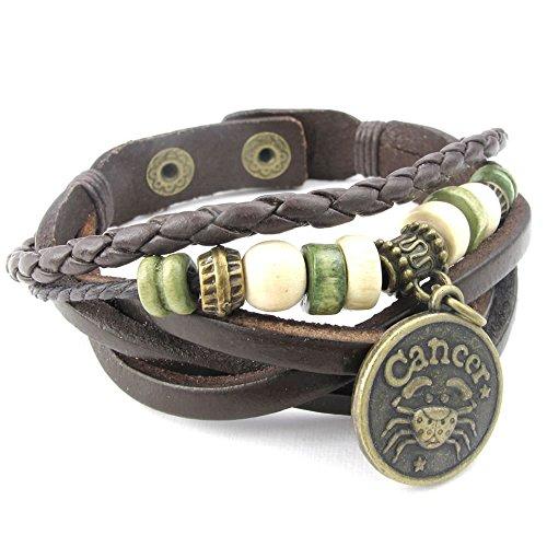 KONOV Mens Womens Leather Bracelet, Cancer Zodiac Sign Charms Beads Adjustable Bangle, Brown