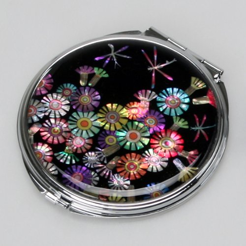 Mother of Pearl Dragonfly Double Compact Magnifying Cosmetic Makeup Round Pocket Purse Hand Mirror with Wild Flower Design
