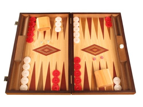 Walnut and Oak Wood Backgammon Set - Board Game - Large, Brown / Red