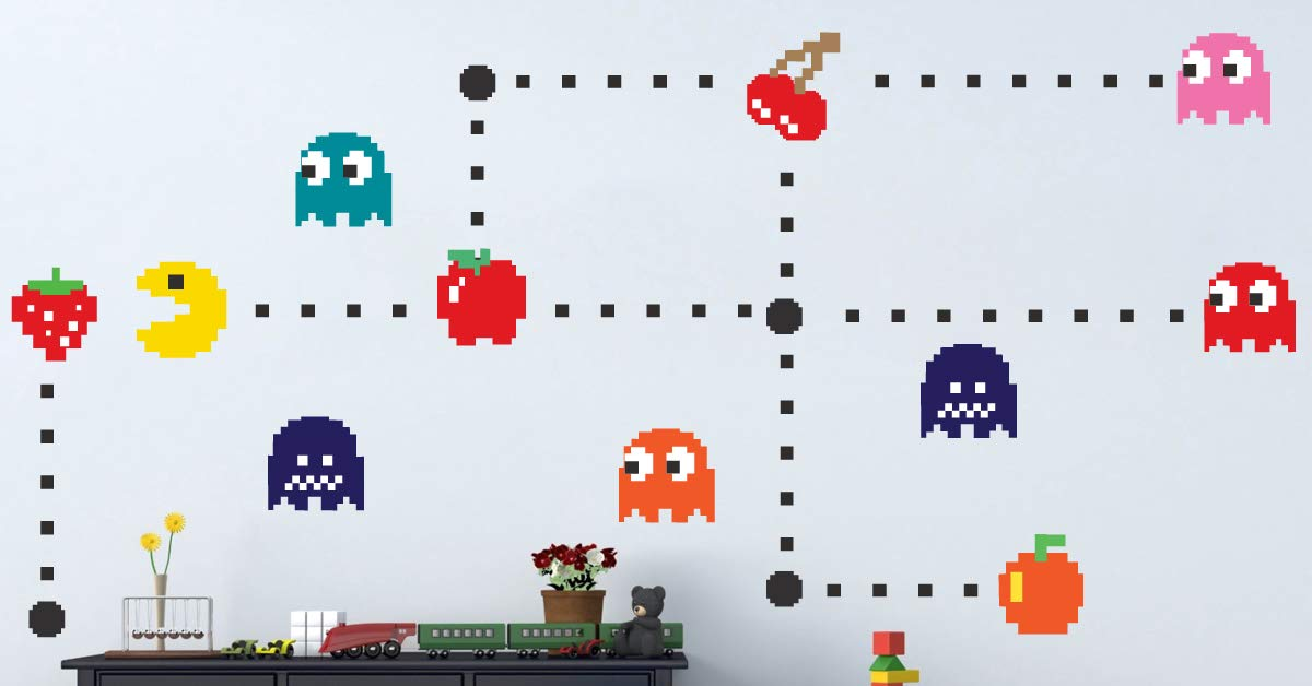 Pac Man Sticker for The Bedroom - Pac-Man Wall Decal Atari Bedroom Design Game Room Pac-Man Wall Mural, n52 by Prime Decals (Image #3)