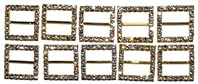 The Buckle Boutique Gold Rhinestone Square 15mm or 9 Inch Buckle Slide (10 Pieces)