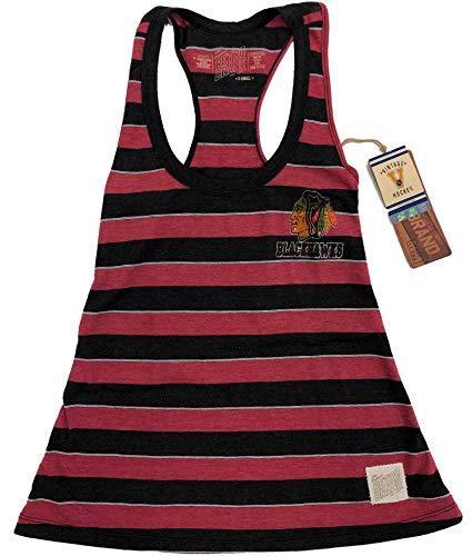 Chicago Blackhawks Retro Brand Womens Striped Burnout Racerback Tank Top (XS) ()