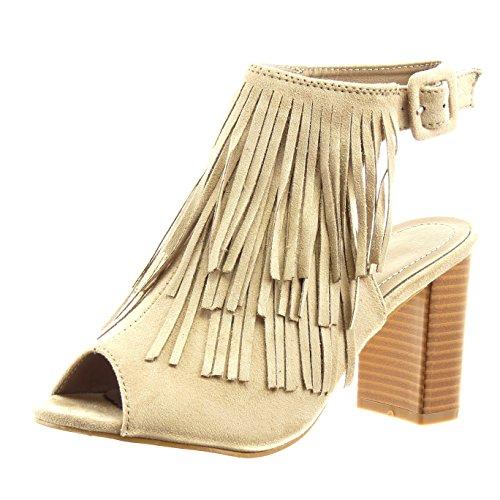 2134eca56f0 Sopily - Chaussure Mode Sandale Bottine ouverte Cheville femmes frange  boucle Talon haut bloc 8 CM - Khaki - CMD-4-F153 T 41  Amazon.fr  Chaussures  et Sacs