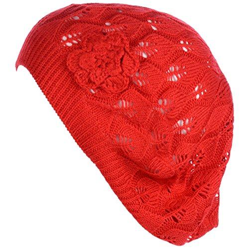 BYOS Chic Parisian Style Lightweight Crochet Beret Beanie